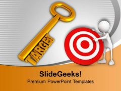 Golden Key With Word Target PowerPoint Templates Ppt Backgrounds For Slides 0413