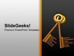 Golden Keys With Business Words PowerPoint Templates And PowerPoint Themes 1012