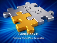 Golden Link Puzzles Communication PowerPoint Themes And PowerPoint Slides 0711
