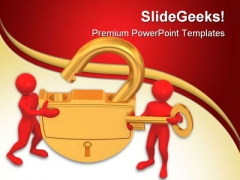 Golden Lock With Key Security PowerPoint Templates And PowerPoint Backgrounds 0211