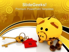 Golden Piggy Bank Keys Growth PowerPoint Templates And PowerPoint Themes 0812