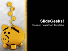Golden Piggy Bank With Falling Coins PowerPoint Templates Ppt Backgrounds For Slides 0213