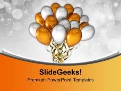 Golden Silver Party Balloons PowerPoint Templates Ppt Backgrounds For Slides 0113
