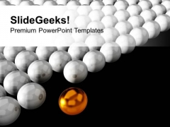 Golden Sphere Standing Out Of Crowd PowerPoint Templates Ppt Backgrounds For Slides 0213