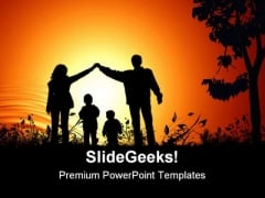 Golden Sunset Family PowerPoint Background And Template 1210
