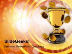 Golden Trophy And Coins Money PowerPoint Templates Ppt Backgrounds For Slides 0113
