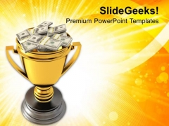 Golden Trophy Cup Full Of Money PowerPoint Templates Ppt Backgrounds For Slides 0213