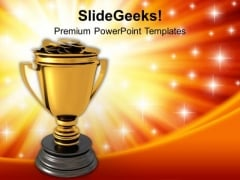 Golden Trophy Full Of Money Success PowerPoint Templates Ppt Backgrounds For Slides 0113