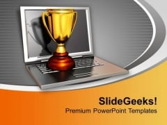 Golden Trophy On Laptop Winner PowerPoint Templates Ppt Backgrounds For Slides 0213