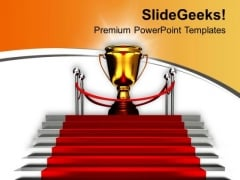 Golden Trophy On Red Carpet Success PowerPoint Templates Ppt Backgrounds For Slides 0313