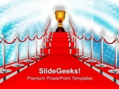 Golden Trophy On Red Carpet Winner PowerPoint Templates Ppt Backgrounds For Slides 0313