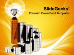 Golden Trophy On The Top Success PowerPoint Templates And PowerPoint Themes 0812