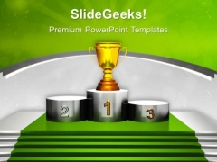 Golden Trophy On Winner Podium PowerPoint Templates Ppt Backgrounds For Slides 0313
