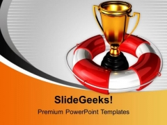 Golden Trophy Under Safeguard Help With Win PowerPoint Templates Ppt Backgrounds For Slides 0113