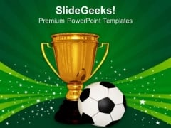 Golden Trophy With A Football Game PowerPoint Templates And PowerPoint Themes 1012