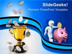 Golden Trophy With Coin Money Prize PowerPoint Templates Ppt Backgrounds For Slides 0213