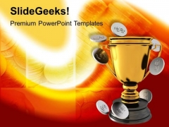 Golden Trophy With Coins Finance PowerPoint Templates Ppt Backgrounds For Slides 0213