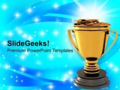 Golden Trophy With Dollar Coins Reward Winner PowerPoint Templates Ppt Backgrounds For Slides 0213