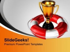 Golden Trophy With Lifeguard Savings PowerPoint Templates Ppt Backgrounds For Slides 0213