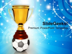 Golden Trophy With Soccer Ball Winner Competition PowerPoint Templates And PowerPoint Themes 1112
