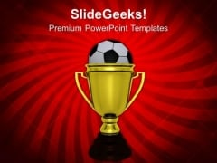 Golden Winner Trophy With Soccer Ball PowerPoint Templates Ppt Backgrounds For Slides 0113