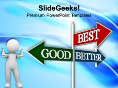 Good Better Best Road Signs PowerPoint Templates And PowerPoint Themes 0512