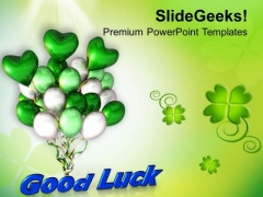 Good Luck With Air Balloons Patrick Day PowerPoint Templates Ppt Backgrounds For Slides 0313