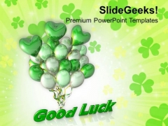 Good Luck With Patrick Balloons PowerPoint Templates Ppt Backgrounds For Slides 0313