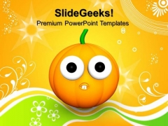 Goofy Scared Halloween Pumpkin Festival PowerPoint Templates And PowerPoint Themes 0812