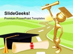 Graduate Holding Diploma Education PowerPoint Themes And PowerPoint Slides 0711