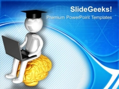 Graduate Working Online Internet Concept PowerPoint Templates Ppt Backgrounds For Slides 0713