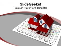 Graph Going Up And Down Real Estate PowerPoint Templates Ppt Backgrounds For Slides 0213
