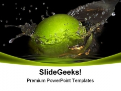 Green Apple And Bursts Food PowerPoint Templates And PowerPoint Backgrounds 0311