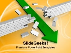 Green Arrow Breaking Wall Solution Business PowerPoint Templates Ppt Backgrounds For Slides 1112