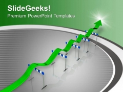 Green Arrow Overcome Hurdles PowerPoint Templates Ppt Backgrounds For Slides 0713