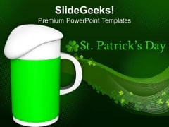 Green Beer Mug With Foamy Head PowerPoint Templates Ppt Backgrounds For Slides 0313