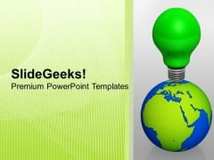 Green Bulb On Globe With Idea Go Green PowerPoint Templates Ppt Backgrounds For Slides 1112