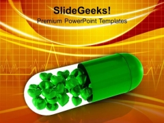 Green Capsule With Hearts Medical PowerPoint Templates Ppt Backgrounds For Slides 0313
