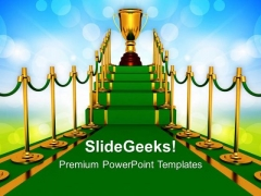 Green Carpet Path Winner Success PowerPoint Templates And PowerPoint Themes 0712