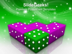 Green Dice Symbol Leadership PowerPoint Templates And PowerPoint Themes 0712
