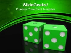 Green Dices On Black And Green Background Success PowerPoint Templates And PowerPoint Themes 1012