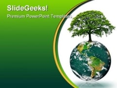 Green Earth Energy Globe PowerPoint Template 0810