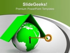Green Globe With Key Locked Security PowerPoint Templates Ppt Backgrounds For Slides 0213