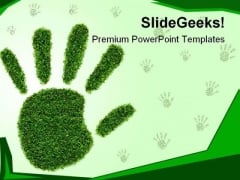 Green Grass Hand Nature PowerPoint Template 1110