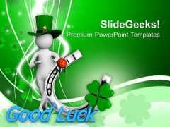 Green Hat Man With Good Luck Symbol PowerPoint Templates Ppt Backgrounds For Slides 0313