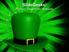 Green Hat Of St Patricks Day PowerPoint Templates Ppt Backgrounds For Slides 0313