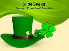 Green Hat With Shamrock Symbol Patricks PowerPoint Templates Ppt Backgrounds For Slides 0313