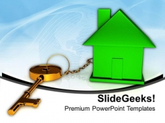 Green House Connected With Keys Business PowerPoint Templates And PowerPoint Themes 1012