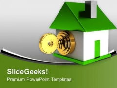 Green House With Security Key Safety PowerPoint Templates Ppt Backgrounds For Slides 0213