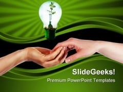 Green Idea Blub Environment PowerPoint Themes And PowerPoint Slides 0411
